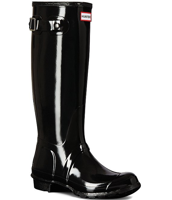 Color:Black - Image 1 - Women's Original Tall Gloss Buckle Strap Rain Boots