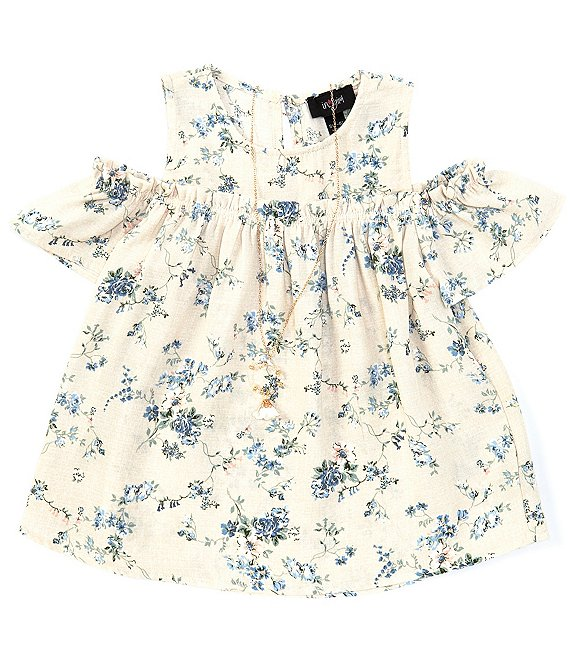 Color:Ivory - Image 1 - Big Girls 7-16 Cold-Shoulder Ditsy Floral Top