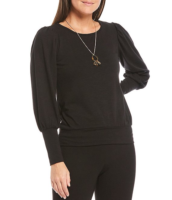 Color:Black - Image 1 - I.N. Petite Size Studio Hacci Knit Puff Sleeve Banded Hem Necklace Top