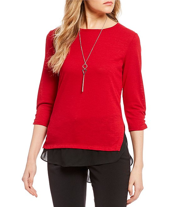 Color:Red - Image 1 - Color Block Two-Fer Top
