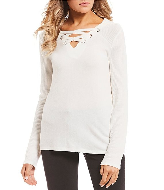 I.N. San Francisco Grommeted Lace-Up Top