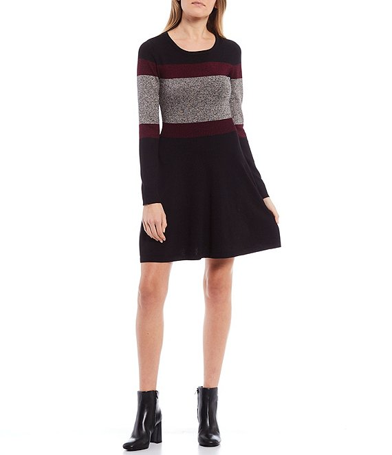Color:Bordeaux - Image 1 - Long-Sleeve Striped Sweater Pullover Skater Dress