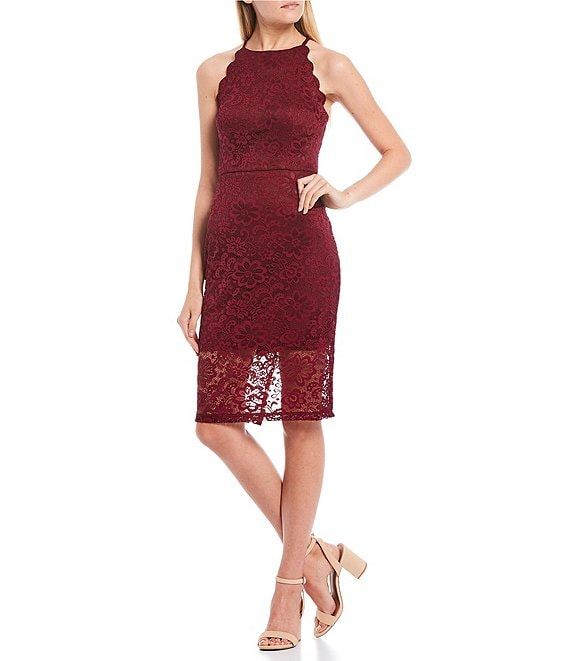 Color:Bordeaux - Image 1 - Scalloped Lace Fitted Midi Dress