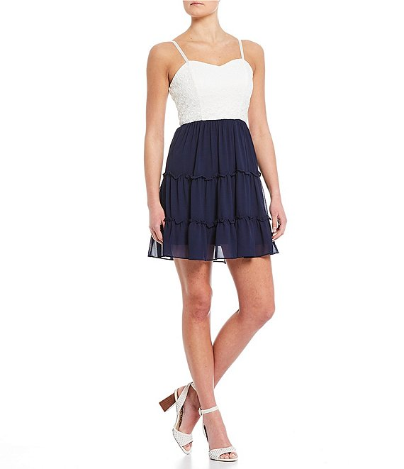 Color:Navy - Image 1 - Spaghetti Strap Lace Bodice Tiered Skirt Dress