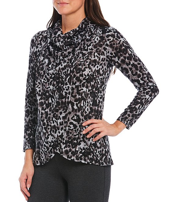 Color:Leopard - Image 1 - Petite Size Leopard Print Fuzzy Cowl Neck Long Sleeve Hi-Low Top