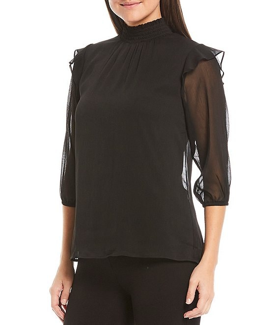 Color:Black - Image 1 - Petite Size Solid Yoryu Smocked Mock Neck Ruffle Shoulder Top