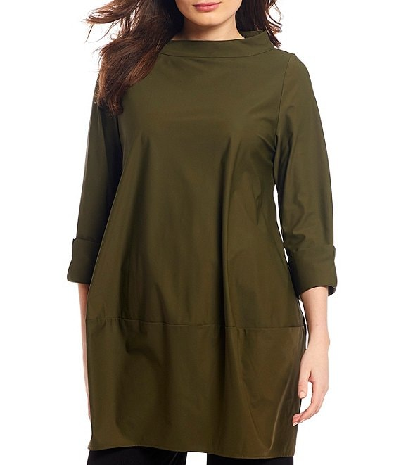 Color:Olive - Image 1 - Boat Neck Balloon Shape Tunic