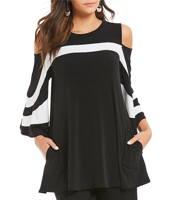 Color:Black - Image 1 - Open Shoulder Trim Platter Top