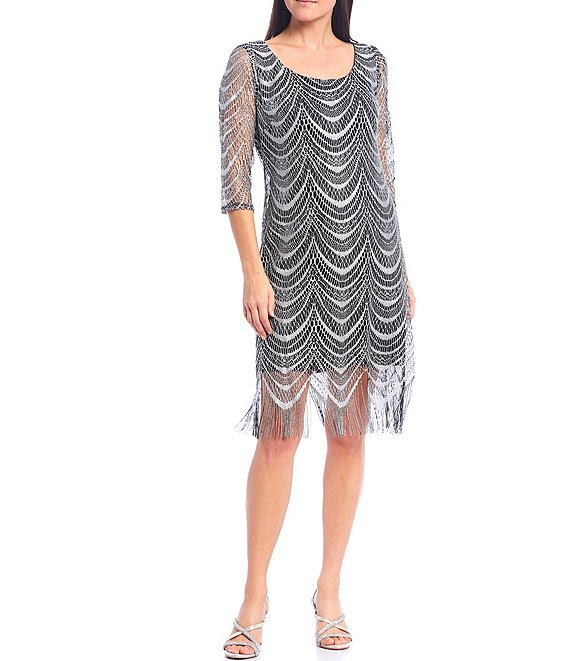 Color:Silver - Image 1 - 3/4 Sleeve Scoop Neck Crochet Lace Fringe Hem Dress