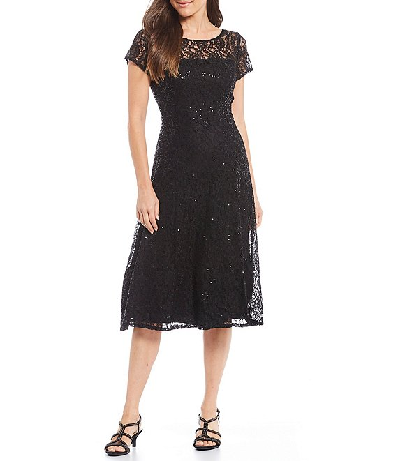 7756e8f680d Ignite Evenings Cap Sleeve Sequin Lace Midi Dress