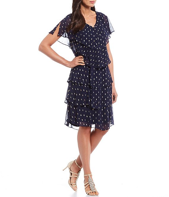 Color:Navy/Gold - Image 1 - Chiffon Metallic Polka Dot Tiered Caplet Dress