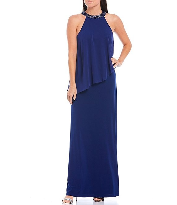Color:Sapphire - Image 1 - Embellished Round Neck Sleeveless Chiffon Overlay Gown