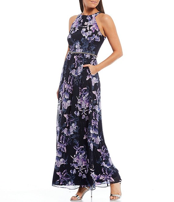 Color:Navy Multi - Image 1 - Floral Print Chiffon High Round Neck Sleeveless Embellished Waist Dress with Pockets