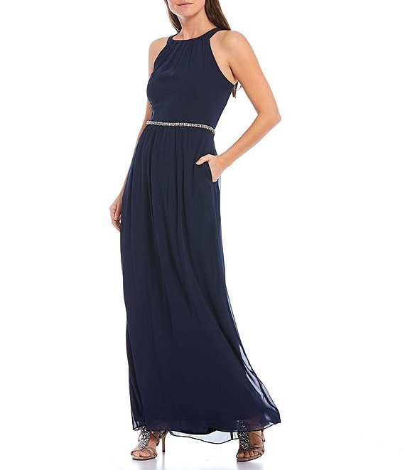 Color:Navy - Image 1 - High Round Neck Sleeveless Chiffon Beaded Waist Dress