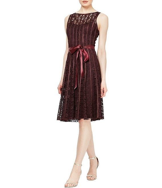Ignite Evenings Lace Satin Belt Sleeveless Pleated A-Line Dress