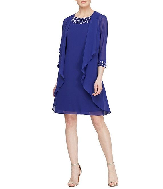 Color:Iris - Image 1 - Petite Size Beaded Neckline Tiered Jacket Dress