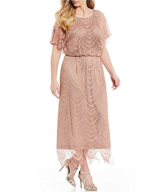 Ignite Evenings Plus Size Beaded Scallop Fringe Blouson Midi Dress