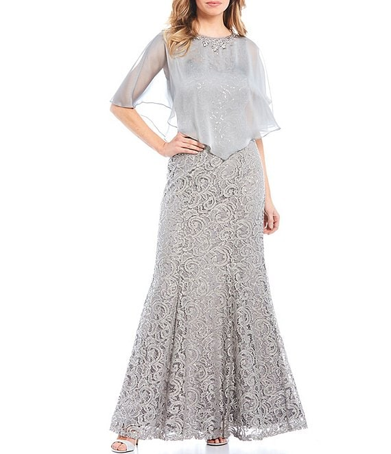 Color:Dove - Image 1 - Sequin Lace 2-Piece Capelet Gown