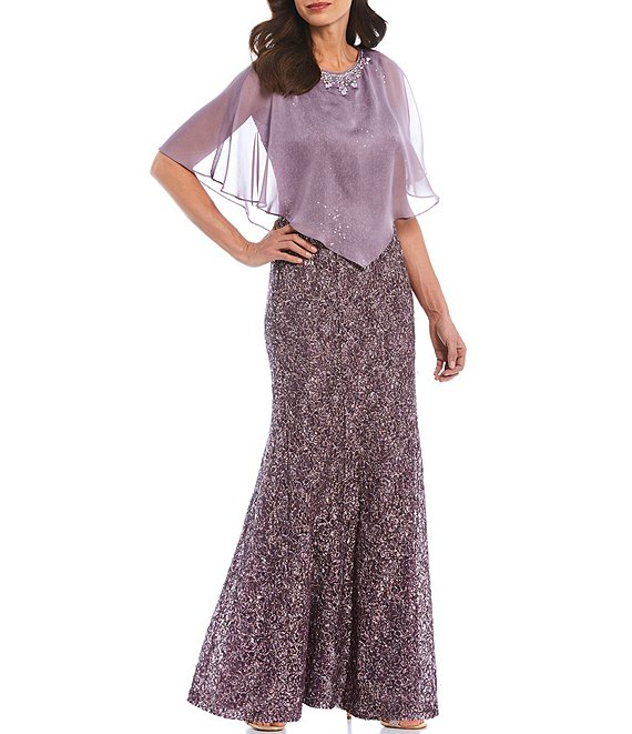 Color:Icy Orchid - Image 1 - Sequin Lace Chiffon Popover Capelet 2-Piece Gown