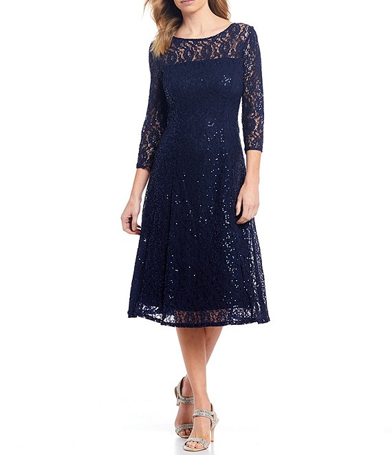 Color:Navy - Image 1 - Sequin Lace Midi Dress
