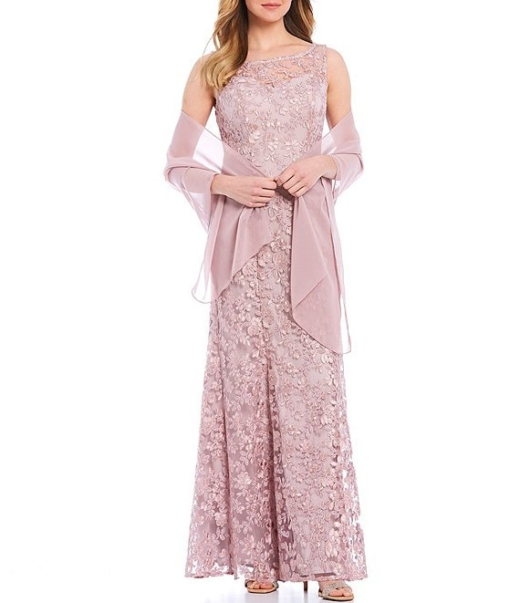 Color:Rose - Image 1 - Sheer Yoke Embroidered Lace Chiffon Round Neck Sleeveless Shawl 2-Piece Gown
