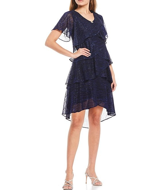 Color:Cobalt - Image 1 - Shimmer Tiered Ruffle Short Sleeve Dress