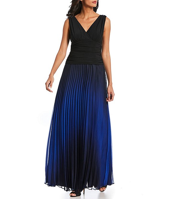 Ignite Evenings Sleeveless Pleated Ombre Gown