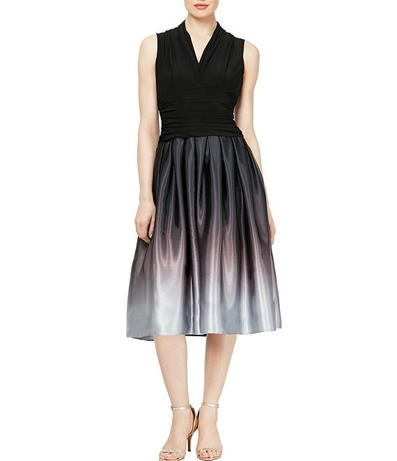 Color:Black Silver - Image 1 - Sleeveless V-Neck Ruched Waist Ombre Midi Dress