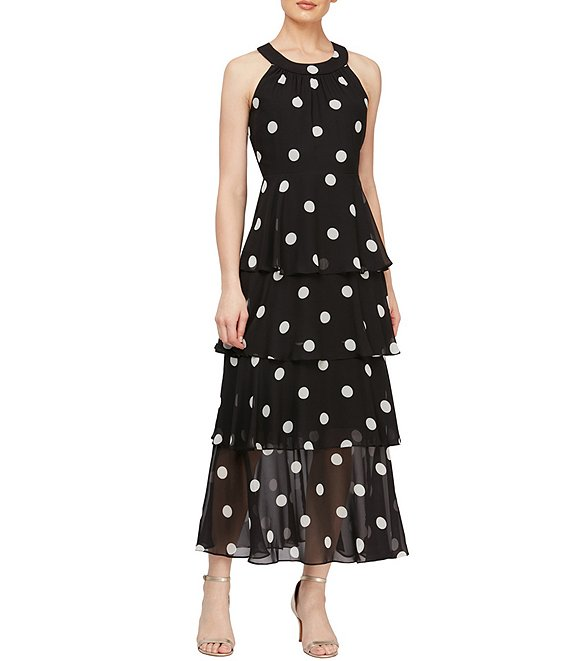 Color:Black/Ivory - Image 1 - Tiered Polka Dot Halter Neck Chiffon Maxi Dress