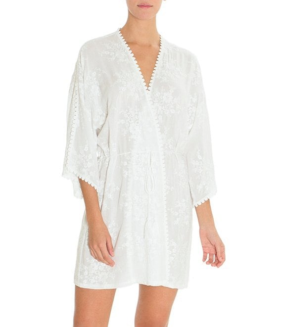 Color:Ivory - Image 1 - Bird Song Embroidered Short Wrap Robe