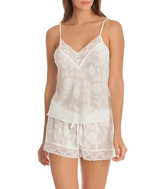 Color:Ivory - Image 1 - Jaquard Crinkled Floral-Print Shorty Pajama Set
