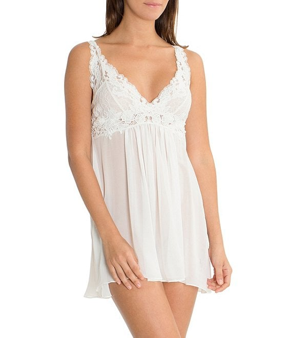 Color:Ivory - Image 1 - Laura Sheer Chiffon & Lace Chemise