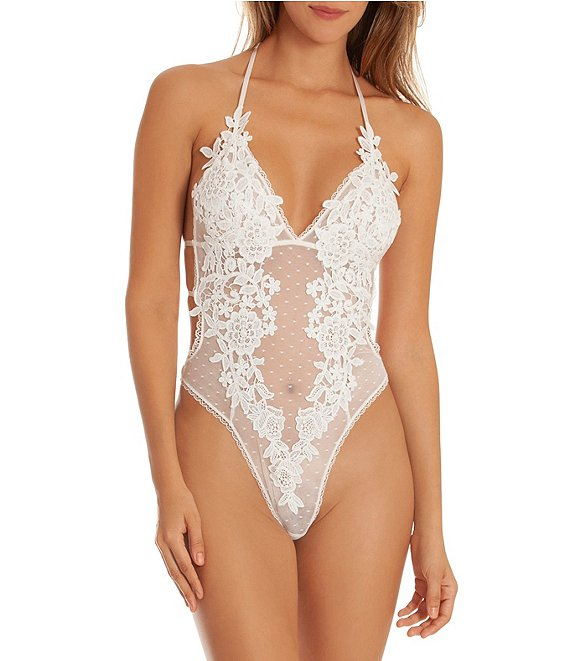 Color:Ivory - Image 1 - Magnolia Lace & Mesh Dot Teddy