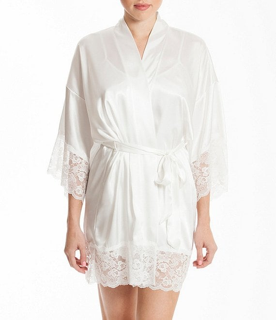 Color:Ivory - Image 1 - Satin & Lace Bridal Robe