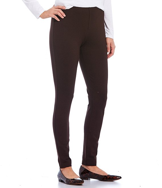 Color:Dark Chocolate - Image 1 - Laura Double Knit Pull-On Leggings