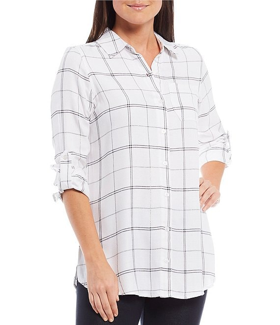 Color:Marshmallow Plaid With Silver Lurex - Image 1 - Petite Size Plaid Yarn Dye Lurex Detail Roll-Tab Sleeve Button Down Hi-Low Shirt