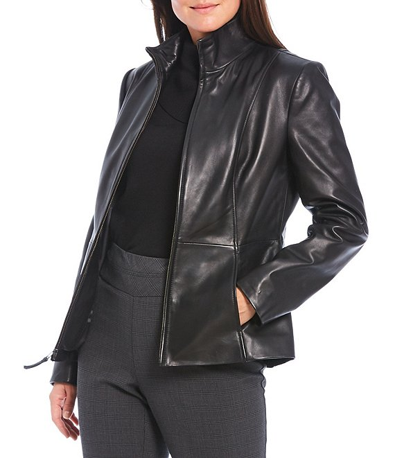 Color:Black - Image 1 - Genuine Leather Stand Collar Zip Front Jacket