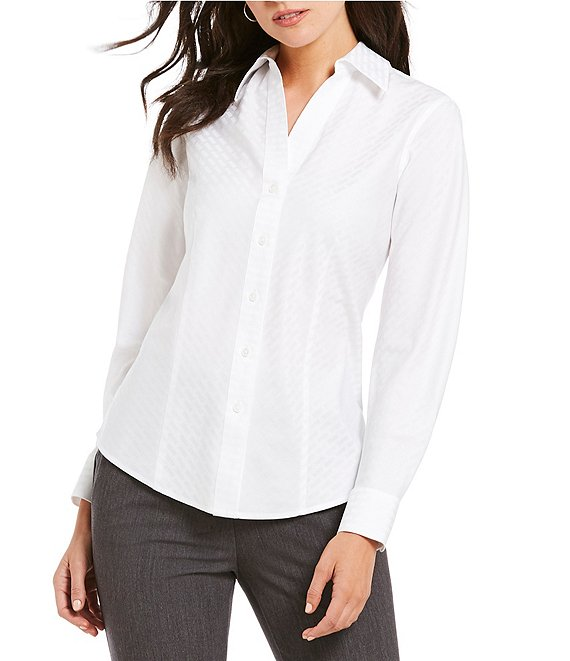 Investments Christine Gold Label Non-Iron Long Sleeved Textured Jacquard Button Front Shirt