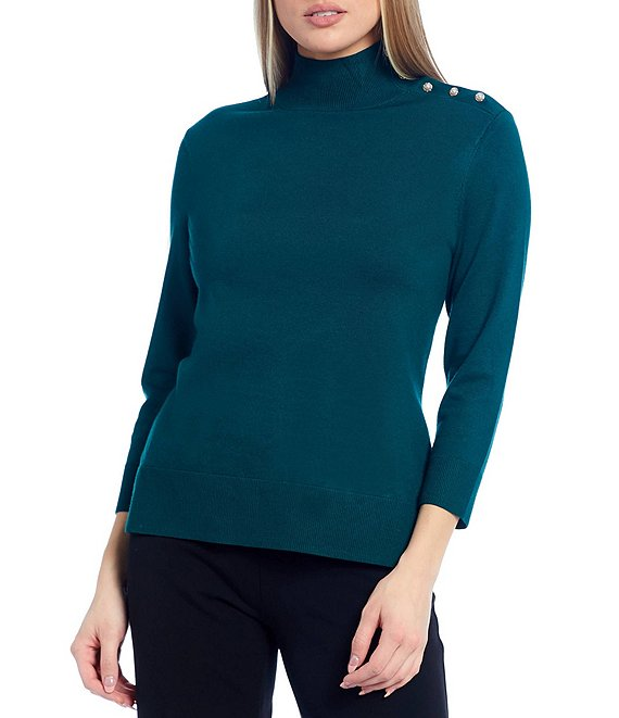 Color:Botanical Garden - Image 1 - Mock Neck 3/4 Sleeve Button Neck Top
