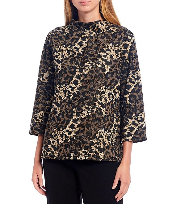 Color:Neutral Multi - Image 1 - Petite Size 3/4 Sleeve Mock Neck Animal Print Top