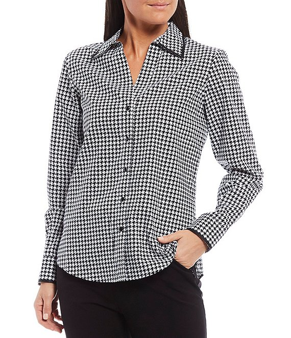Color:Houndstooth - Image 1 - Petite Size Christine Gold Label Non-Iron Cotton Long Sleeve Button Front Houndstooth Print Shirt
