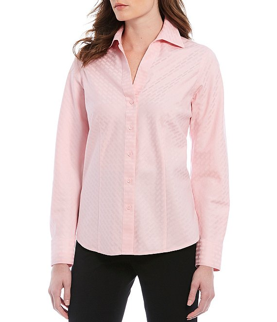 Color:Blush - Image 1 - Petite Size Christine Gold Label Non-Iron Long Sleeve Button Front Jacquard Shirt