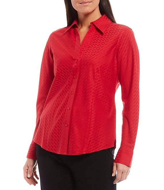 Color:Stoplight Red - Image 1 - Petite Christine Gold Label Non-Iron Long Sleeve Jacquard Button Front Shirt