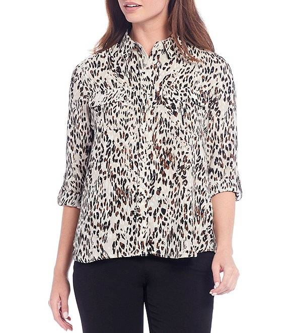 Color:Weathered Leopard - Image 1 - Petite Size Olivia Long Roll-Tab Sleeve Button-Front Animal Print Utility Blouse