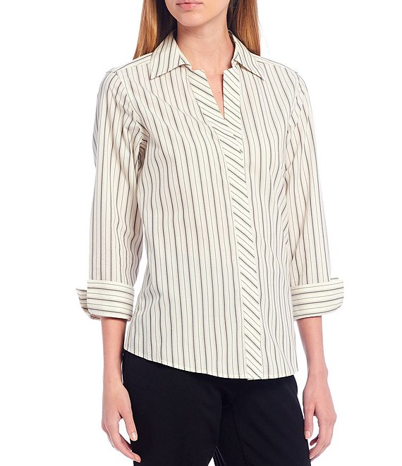 Color:Stripe - Image 1 - Petite Size Taylor Gold Label Non-Iron 3/4 Sleeve Button Front Stripe Shirt