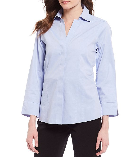 Color:Blue Wave - Image 1 - Petite Size Taylor Gold Label Non-Iron Y-Neck 3/4 Sleeve Button Front Shirt
