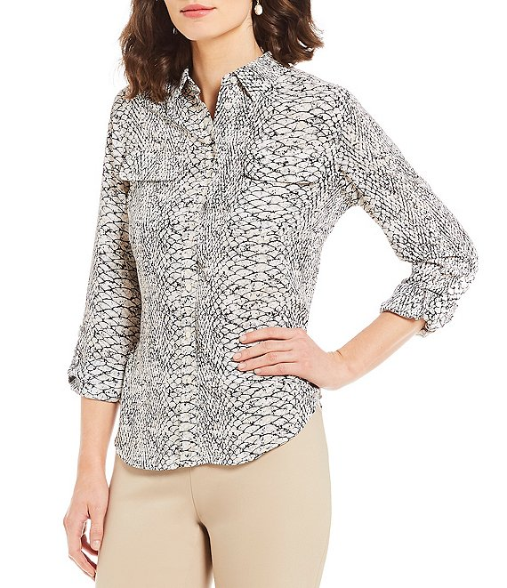 Color:Neutral Python - Image 1 - Petite Olivia Point Long Sleeve Button Front Printed Utility Blouse