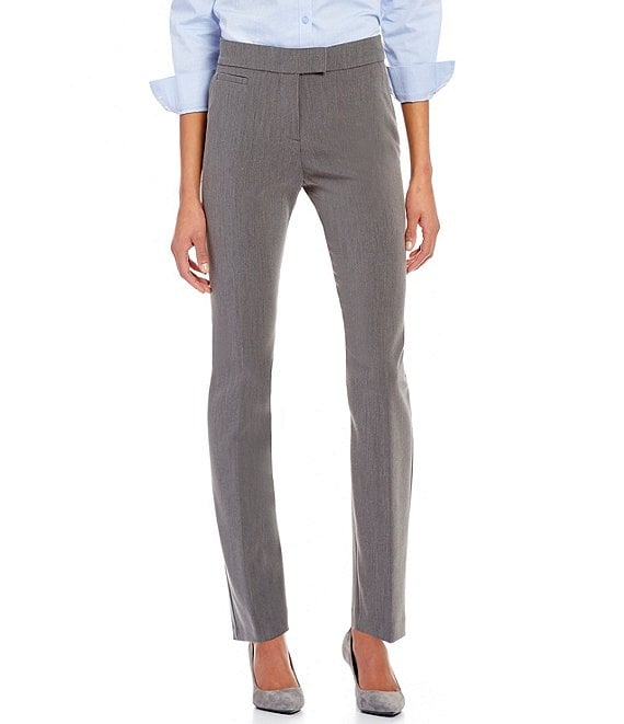 Color:Heather Grey - Image 1 - Petite Size the 5TH AVE fit Straight-Leg Pant