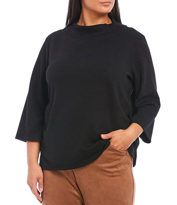 Color:Black - Image 1 - Plus Size 3/4 Sleeve Solid Mock Neck Top