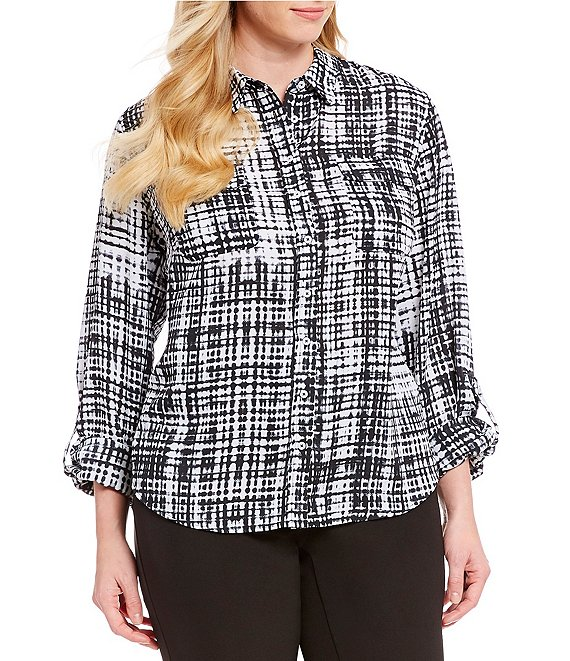 deaa3bfe080de8 Investments Plus Size Olivia Roll-Tab Sleeve Grid Print Utility Button  Front Blouse